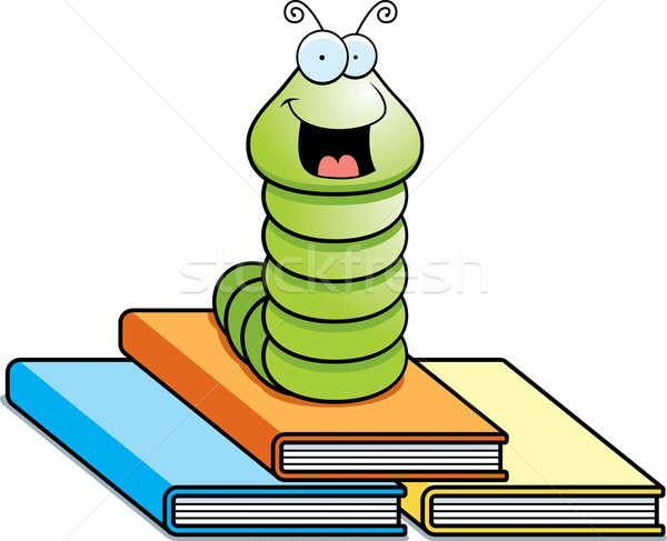 Feliz desenho animado verme topo livros Foto stock © cthoman