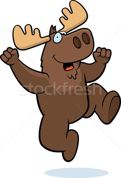 Moose jumping felice cartoon sorridere successo Foto d'archivio © cthoman