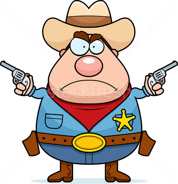 Boos cowboy cartoon sheriff man geweren Stockfoto © cthoman