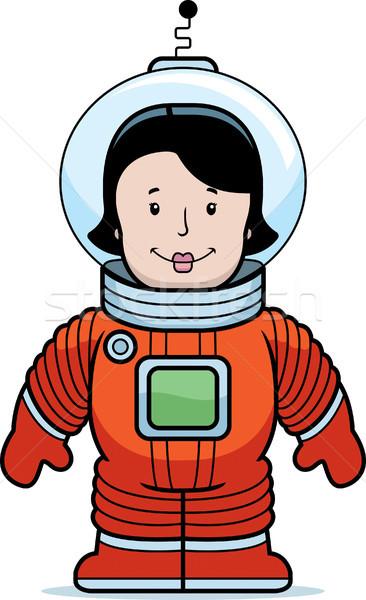 Mulher astronauta feliz desenho animado espaço Foto stock © cthoman
