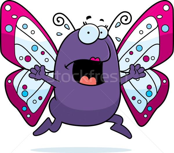Stok fotoğraf: Kelebek · panik · karikatür · çalışma · korku · böcek