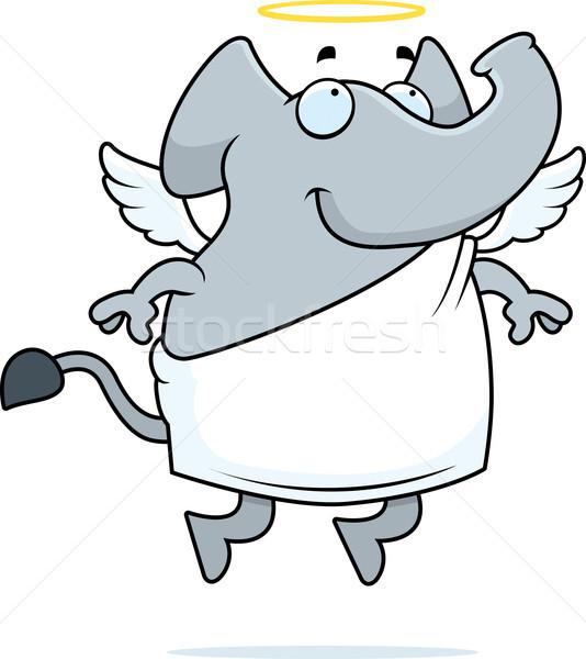 Olifant engel gelukkig cartoon halo Stockfoto © cthoman