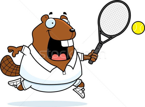 Cartoon castor tenis ilustración jugando pelota Foto stock © cthoman