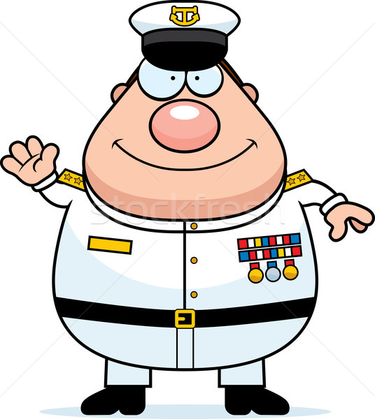 Cartoon Navy Admiral Waving Stock photo © cthoman