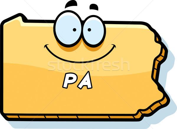 Stockfoto: Cartoon · Pennsylvania · illustratie · glimlachend · grafische · amerika