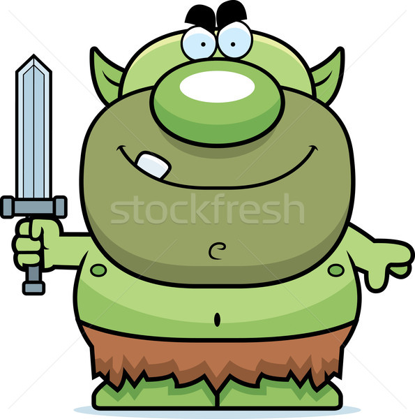 Stock photo: Cartoon Goblin Sword