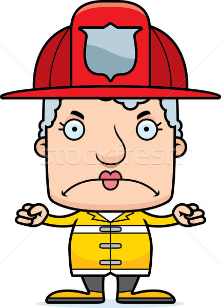 Cartoon boos brandweerman vrouw naar Stockfoto © cthoman