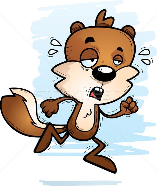 Kimerült rajz férfi mókus illusztráció fut Stock fotó © cthoman