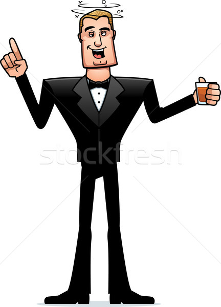 Drunk Cartoon Spy in Tuxedo Stock photo © cthoman