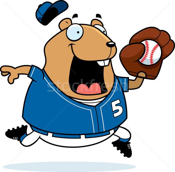 Cartoon hamster baseball illustratie spelen gelukkig Stockfoto © cthoman