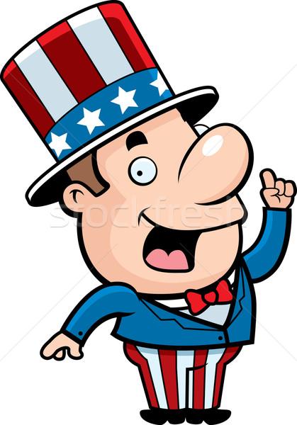 Vaderlandslievend man gelukkig cartoon idee glimlachend Stockfoto © cthoman