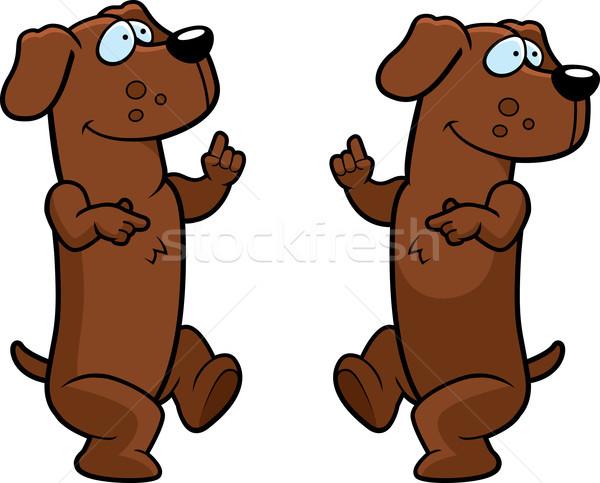 Tacskó tánc boldog rajz mosolyog kutya Stock fotó © cthoman