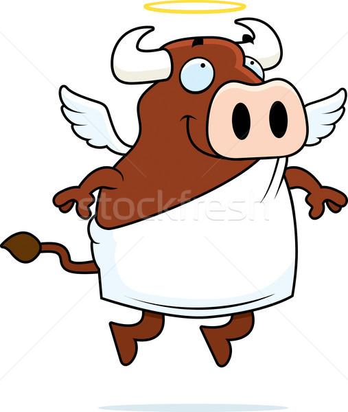 Heilig koe gelukkig cartoon halo Stockfoto © cthoman