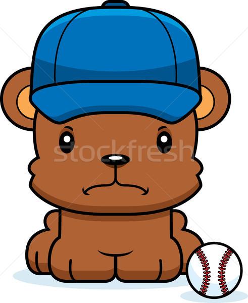 Karikatür öfkeli beyzbol oyuncusu ayı bakıyor grafik Stok fotoğraf © cthoman
