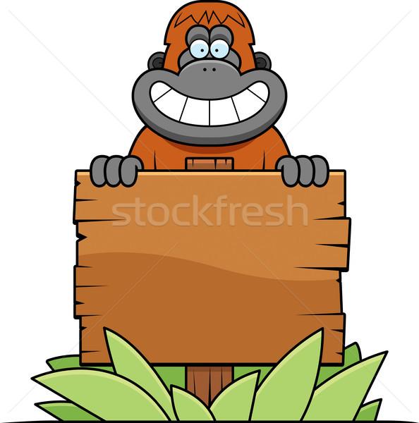 Karikatür orangutan imzalamak örnek mutlu Stok fotoğraf © cthoman