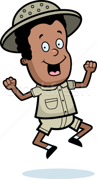 探險者 跳躍 快樂 漫畫 孩子 微笑 商業照片 © cthoman