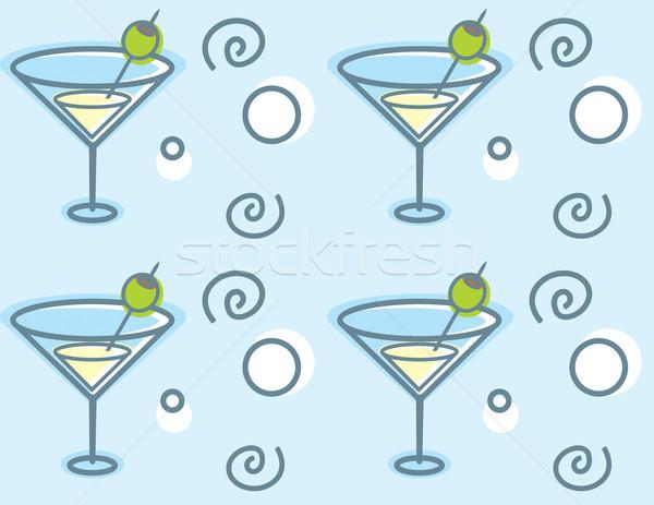 Martini minta rajz martinis pohár végtelenített ismétlés Stock fotó © cthoman