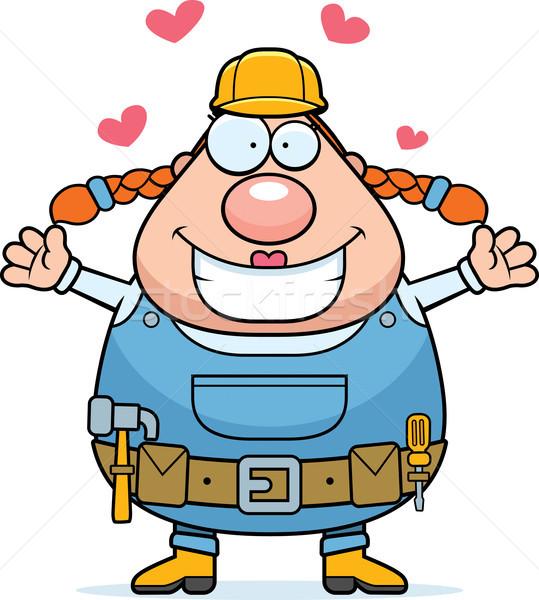 Bouwvakker knuffel gelukkig cartoon vrouw klaar Stockfoto © cthoman