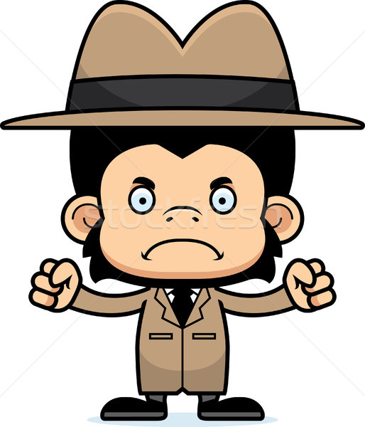 Cartoon Angry Detective Chimpanzee Stock photo © cthoman