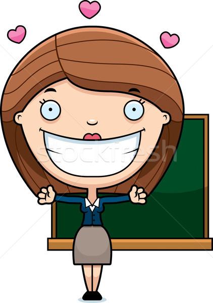 Cartoon leraar knuffel illustratie klaar geven Stockfoto © cthoman