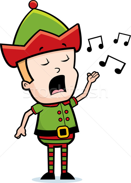Elf zingen cartoon christmas lied Stockfoto © cthoman