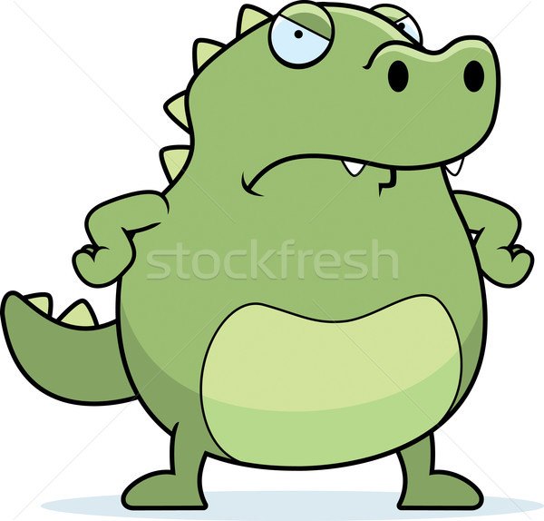 Zangado lagarto desenho animado animal em pé louco Foto stock © cthoman