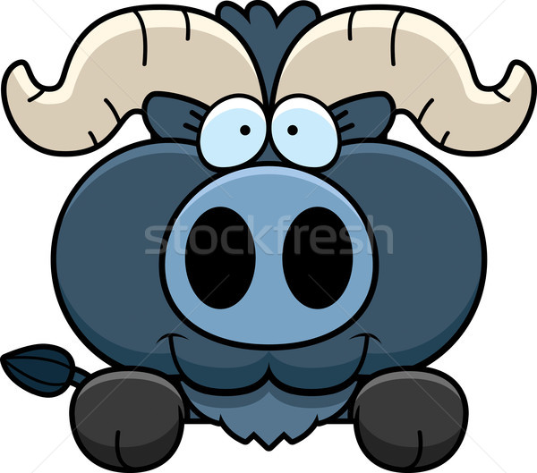 Stock photo: Cartoon Little Blue Ox Peeking