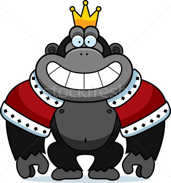 Rajz gorilla király illusztráció korona fogak Stock fotó © cthoman