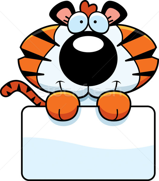 Cartoon Tiger Cub Sign Stock photo © cthoman