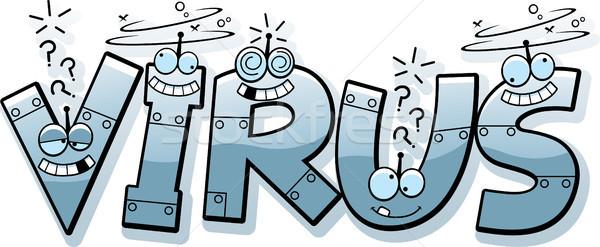 Cartoon Компьютер Вирус текста иллюстрация вирус робота Сток-фото © cthoman