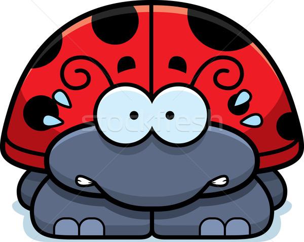 нервный мало Ladybug Cartoon иллюстрация глядя Сток-фото © cthoman