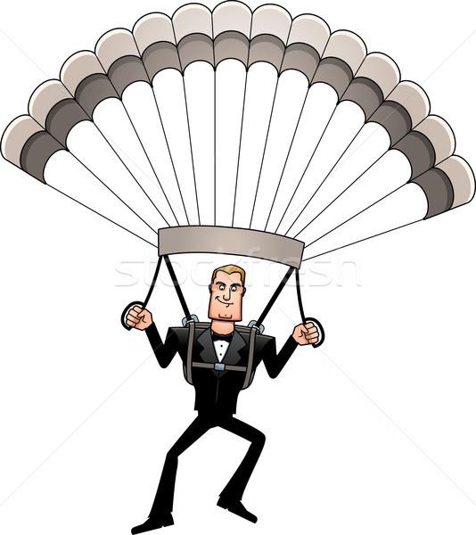 Rajz kém csokornyakkendő ejtőernyőzés illusztráció férfi Stock fotó © cthoman