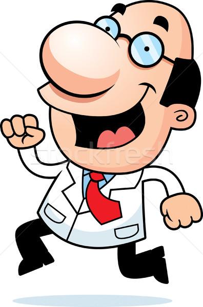 Cartoon ученого работает иллюстрация очки человек Сток-фото © cthoman
