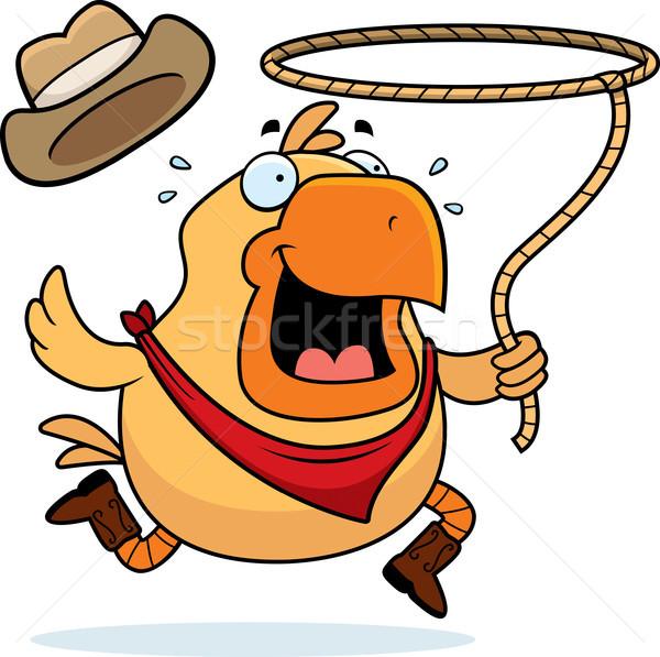 ロデオ 鶏 幸せ 漫画 カウボーイ 動物 ストックフォト © cthoman