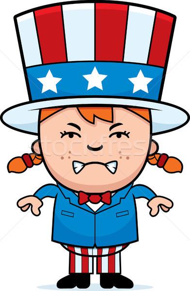 öfkeli vatansever çocuk karikatür örnek kız Stok fotoğraf © cthoman
