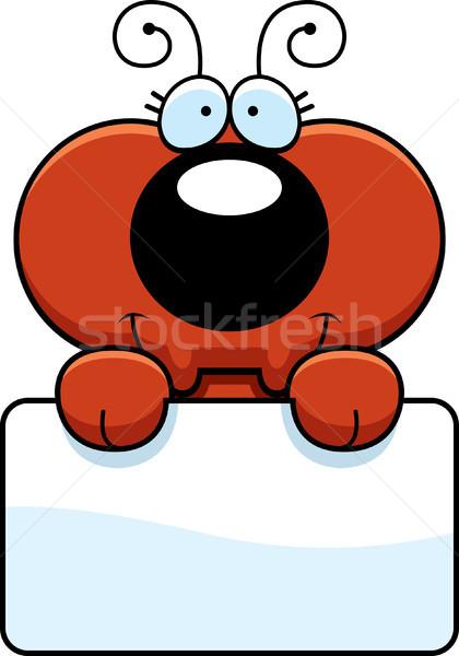 Desenho animado formiga assinar ilustração pequeno branco Foto stock © cthoman