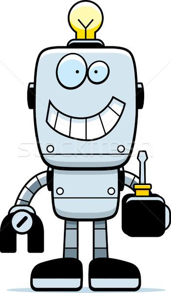 Desen animat robot surubelnita ilustrare tehnologie Imagine de stoc © cthoman