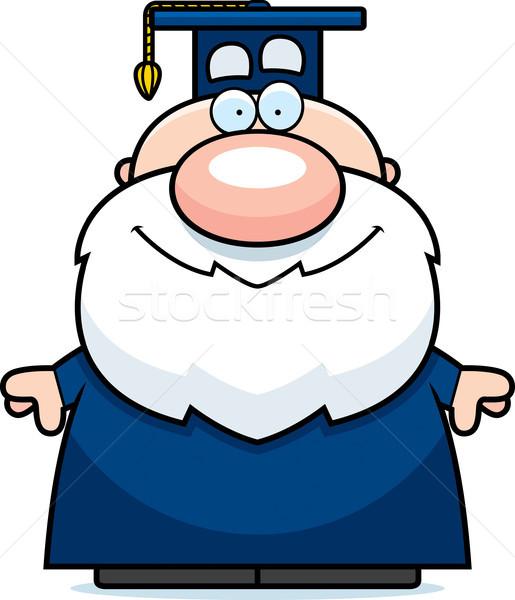 Karikatür profesör gülen mutlu ayakta Stok fotoğraf © cthoman