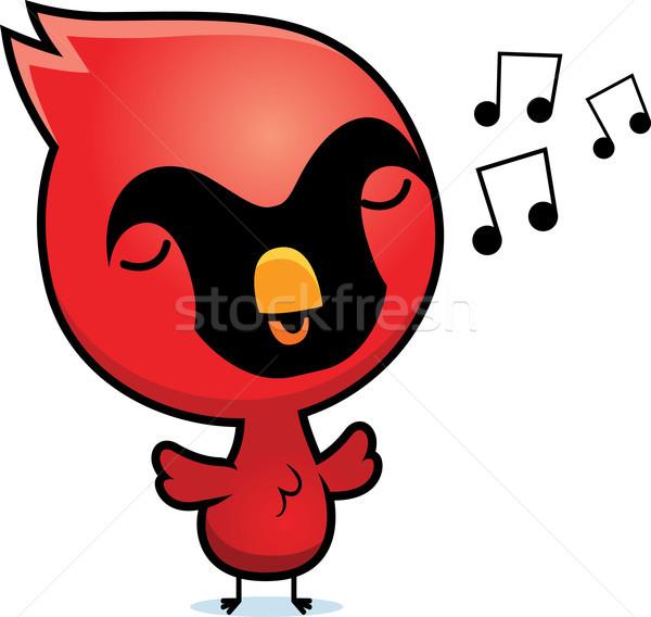 Cartoon cantare illustrazione baby uccello animale Foto d'archivio © cthoman