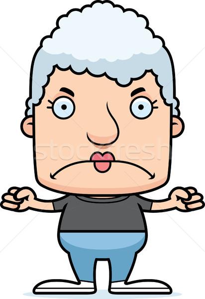 Cartoon arrabbiato donna guardando Foto d'archivio © cthoman