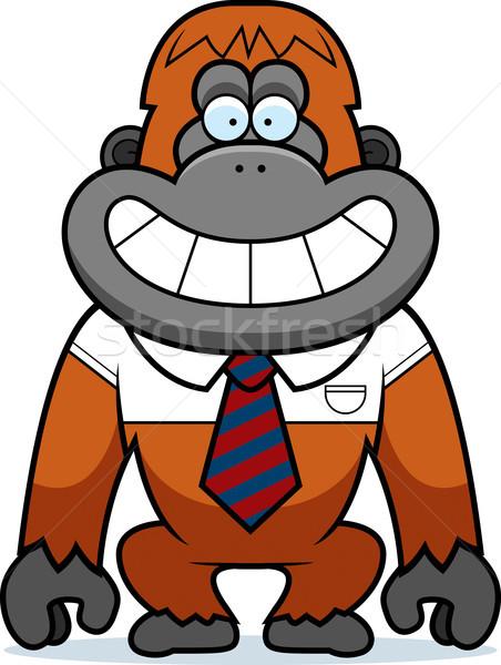 Karikatür orangutan kravat örnek ofis mutlu Stok fotoğraf © cthoman