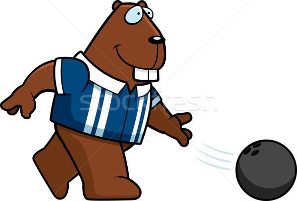 Karikatür kunduz bowling örnek bowling topu mutlu Stok fotoğraf © cthoman