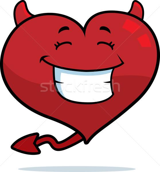 Diabo coração sorridente desenho animado feliz Foto stock © cthoman