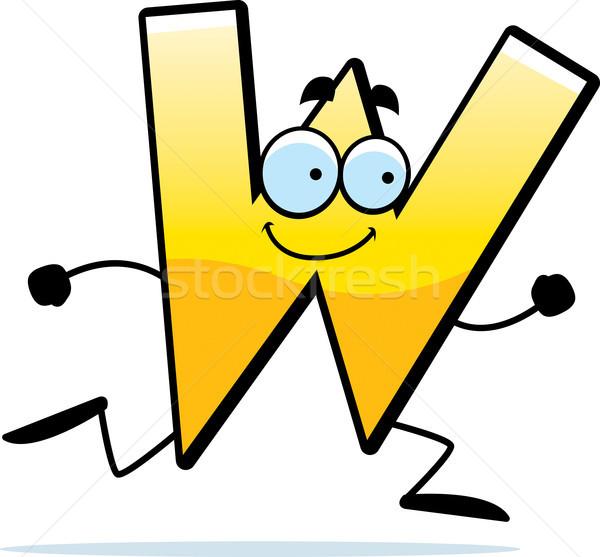 Cartoon uruchomiony ilustracja list w uśmiechnięty list Zdjęcia stock © cthoman