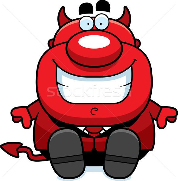 Karikatür şeytan oturma örnek adam kırmızı Stok fotoğraf © cthoman