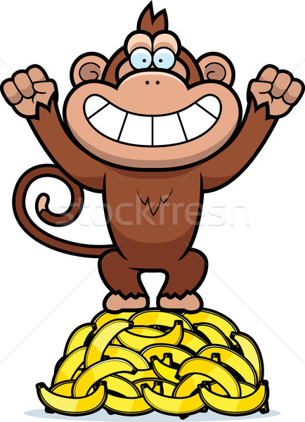 Cartoon singe bananes illustration animaux Photo stock © cthoman