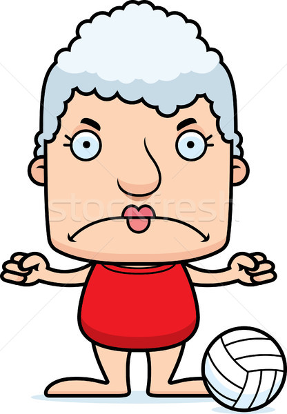 Cartoon boos strand volleybal speler vrouw Stockfoto © cthoman