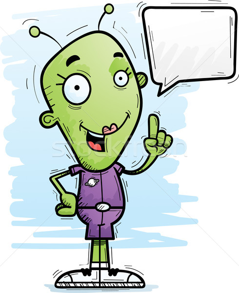 Cartoon Alien Woman Talking Stock photo © cthoman
