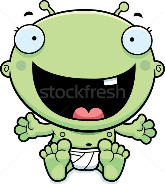 Desenho animado bebê alienígena feliz ilustração olhando Foto stock © cthoman