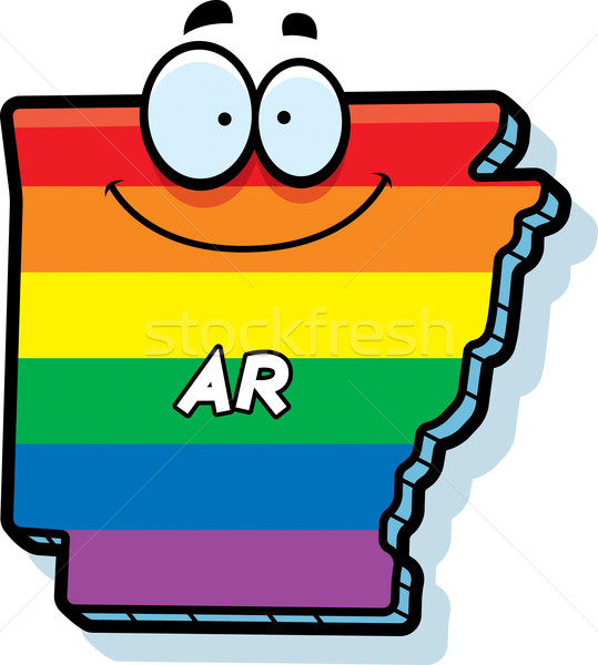Cartoon Arkansas homohuwelijk illustratie glimlachend regenboog Stockfoto © cthoman